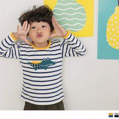 OrangeBear - Kids Crocodile Embroidered Striped T-Shirt
