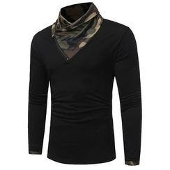 Peibo - Mock Turtleneck Camo Panel Long-Sleeve T-Shirt