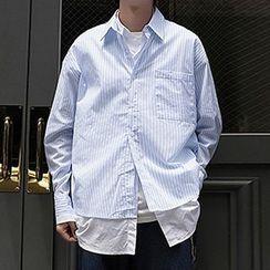 Tiaota - Mock Two-Piece Striped Shirt