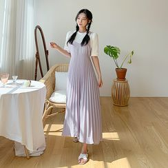 Envy Look - Pleated Spaghetti-Strap Pinafore Dress