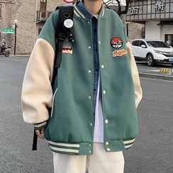 JUN.LEE - Color-Block Applique Baseball Jacket