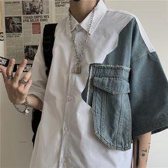 INStudio - Elbow-Sleeve Denim Panel Shirt