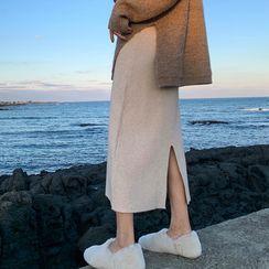 Hearty Bliss - Maternity Midi Knit Skirt