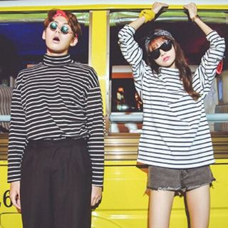 Melon Juice - Striped Turtleneck T-Shirt