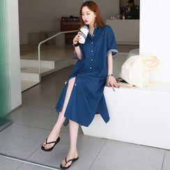 Seoul Fashion(ソウルファッション) - Boxy Denim Long Shirtdress