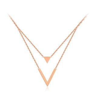 BELEC - 简约时尚镀玫瑰金三角v型316L 钢双层项链