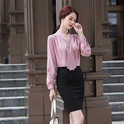 Skyheart - 长袖领结带衬衫 / 西裤 / 铅笔裙