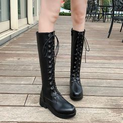 Shoes Galore - Faux Leather Lace-Up Chunky Heel Tall Boots