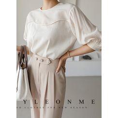 Styleonme - Puff-Sleeve Pintuck Textured Blouse