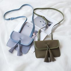 Seede - Tassel Faux Leather Mini Crossbody Bag