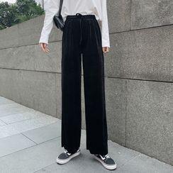 Yako - Velvet High-Waist Wide-Leg Pants
