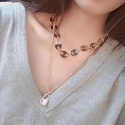 True Glam - Alloy Padlock Pendant Layered Necklace