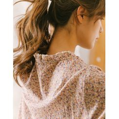 GOROKE - Eyelet Lace Trim Floral Print Dress