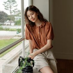 JUSTONE - Frilled-Collar Pintuck Blouse