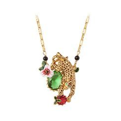 BELEC - Fashion and Elegant Plated Gold Cheetah Flower Necklace with Green Cubic Zirconia