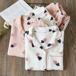 Dogini - Pajama Set: Heart Print Long-Sleeve Top + Pants