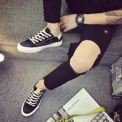 Solejoy - 厚底飾縫線繫帶休閒鞋