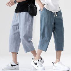 百高 - 麻布九分直筒裤