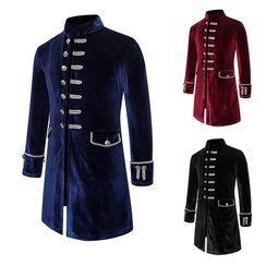 Sheck(シェック) - Velvet Button-Up Coat