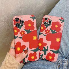 Kodato - Floral Print Phone Case - iPhone 12 Pro Max / 12 Pro / 12 / 12 mini / 11 Pro Max / 11 Pro / 11 / SE / XS Max / XS / XR / X / SE 2 / 8 / 8 Plus / 7 / 7 Plus
