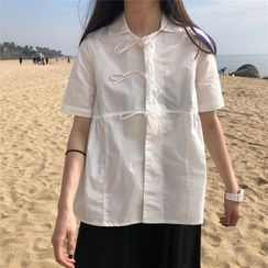 Maisee - Bow Detail Short-Sleeve Blouse