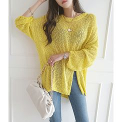 GUMZZI - Slit-Hem Dip-Back Vivid Knit Top