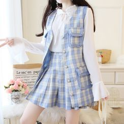MePanda - Set: Long-Sleeve Tie-Neck Blouse + Plaid Vest + A-Line Mini Skirt