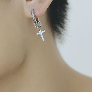 Tenri(テンリ) - Stainless Steel Cross Drop Earring