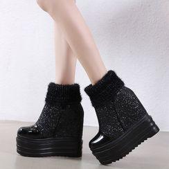Anran - Platform Wedge-Heel Knit Ankle Boots