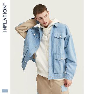 Newin - Denim-Panel Drop-Shoulder Jacket