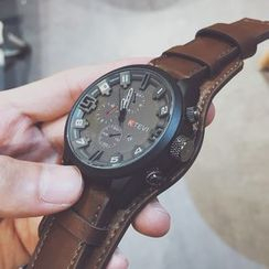 InShop Watches(インショップウォッチズ) - Oversized Faux Leather Strap Watch