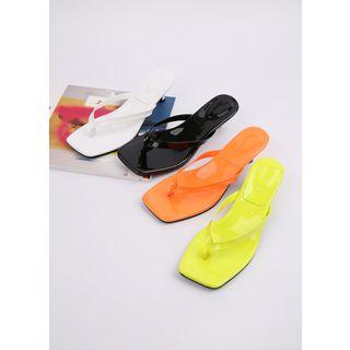 Styleonme - Thong Kitten-Heel Neon-Color Slide Sandals