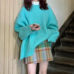 Karnel - Cable Knit Sweater / Mini Skirt
