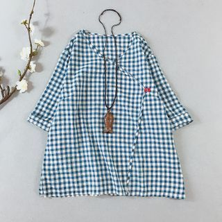 Vateddy - Plaid Frog-Button 3/4-Sleeve Linen Blouse