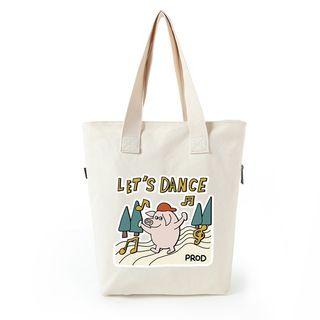 Lozynn - Pig Print Canvas Shopper Bag