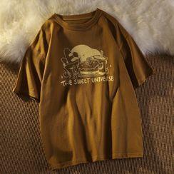 Honey River - Short-Sleeve Cartoon Print T-Shirt