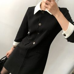 Tangihouse - Color-Block 3/4-Sleeve Slim-Fit Dress