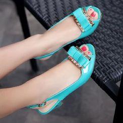 Freesia - Patent Ribbon Accent Slingback Kitten Heel Sandals