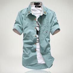Aozora - 短袖純色襯衫
