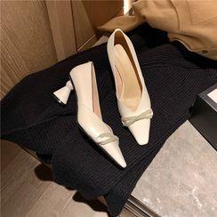 QQ Trend - Faux Pearl Chunky Heel Pumps