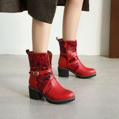 Kireina - Faux Snake Skin Block-Heel Short Boots