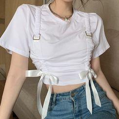 Letme - Short-Sleeve Drawstring Cropped T-Shirt