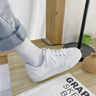 Yuche - Plain Platform Canvas Sneakers