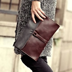 BagBuzz(バッグバズ) - Two-Tone Faux Leather Clutch
