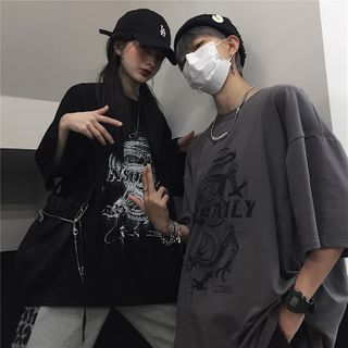 Giuliana(ギーリアナ) - 半袖ドラゴンプリントTシャツ