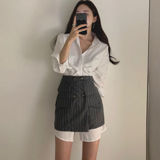 Chichila - 長袖純色迷你襯衫連衣裙 / 雙排扣條紋迷你裙