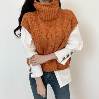 Yolandus - Turtleneck Cable Knit Sweater Vest