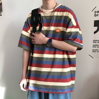 Wescosso(ウェスコッソ) - Striped Short-Sleeve Round Neck T-Shirt