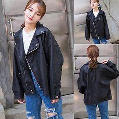 Clair Fashion - Faux-Leather Jacket