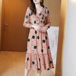 Kimrum - Long-Sleeve Dot Print Midi Dress